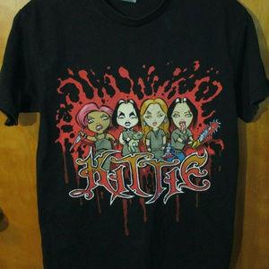 Kittie Band Cartoon Graphic Black Shirt Medium